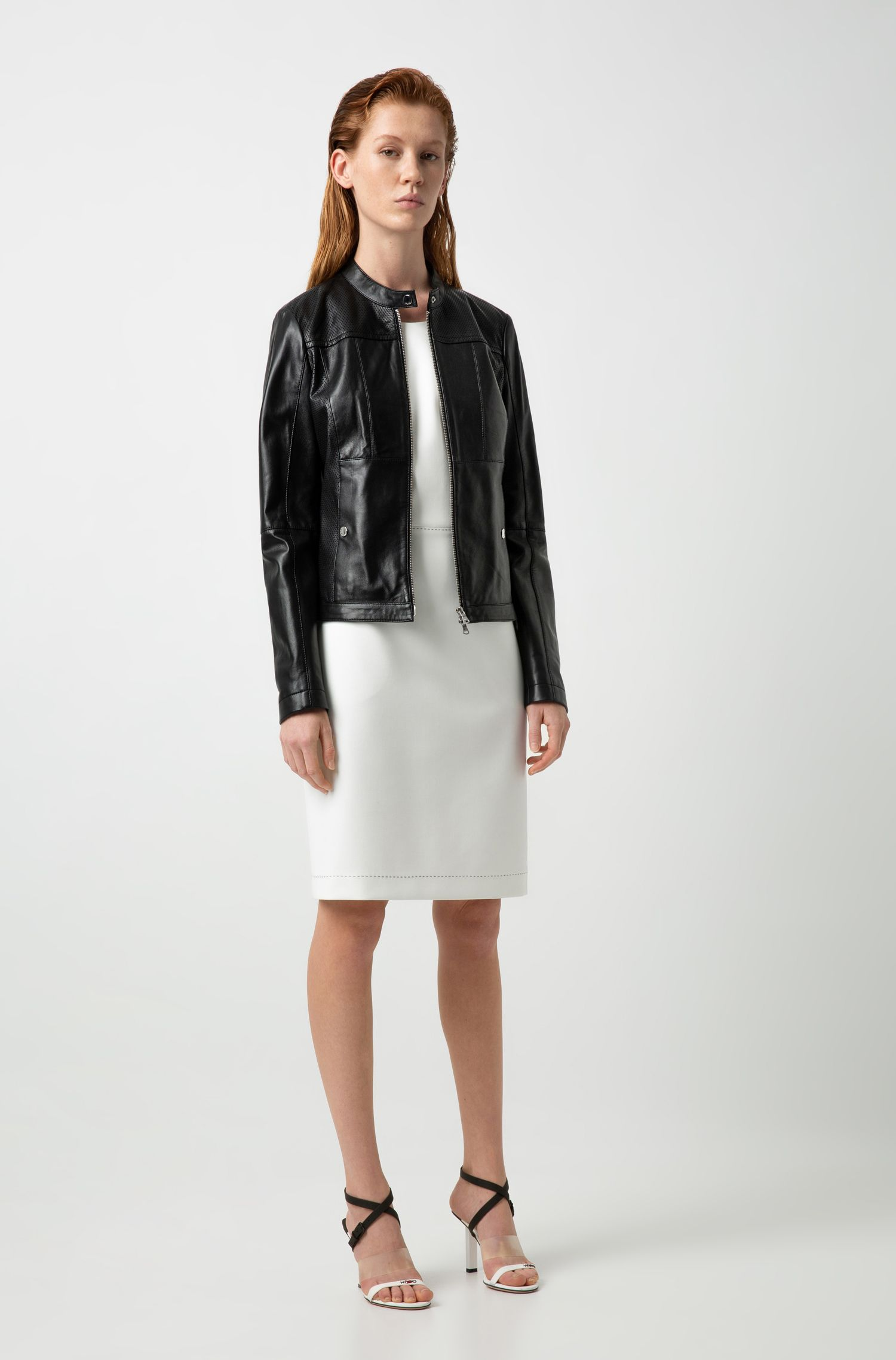 Hugo Boss - Lambskin biker jacket with perforated panels - 2