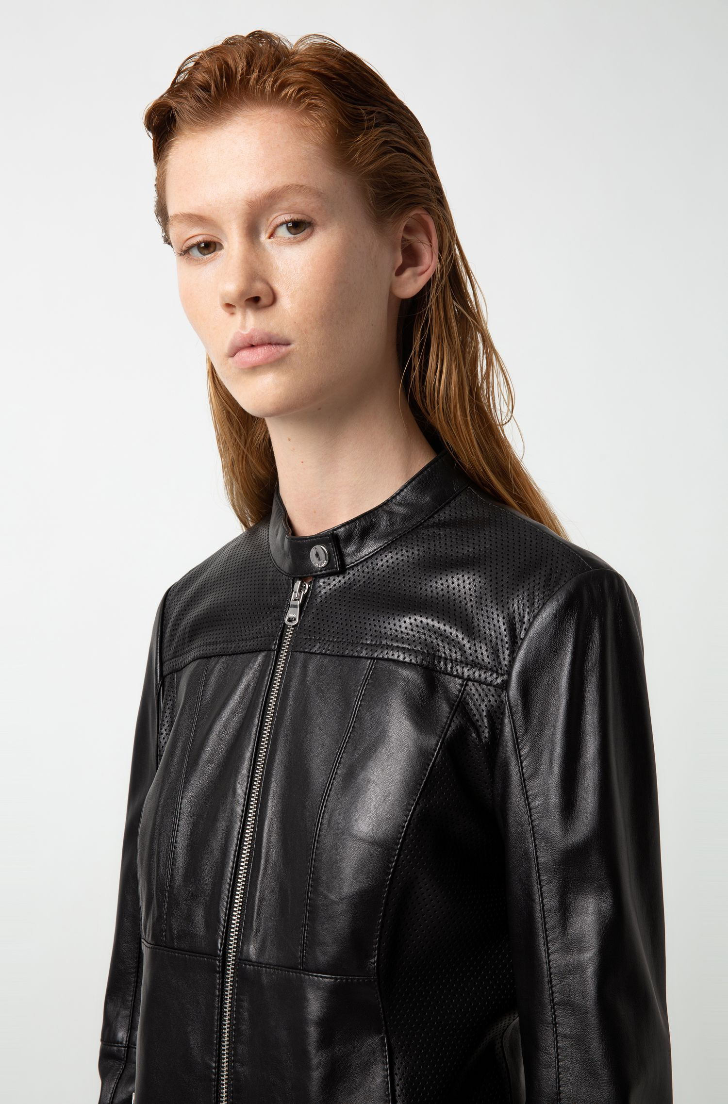 Hugo Boss - Lambskin biker jacket with perforated panels - 3