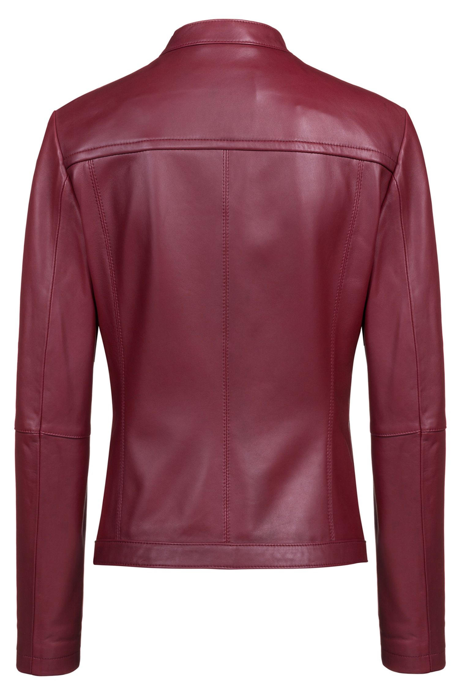 Lambskin biker jacket with perforated panels, Red