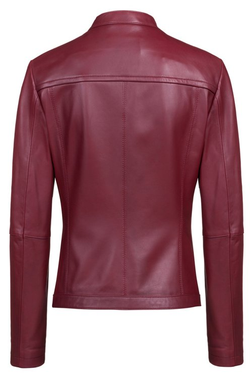 Hugo Boss - Lambskin biker jacket with perforated panels - 4