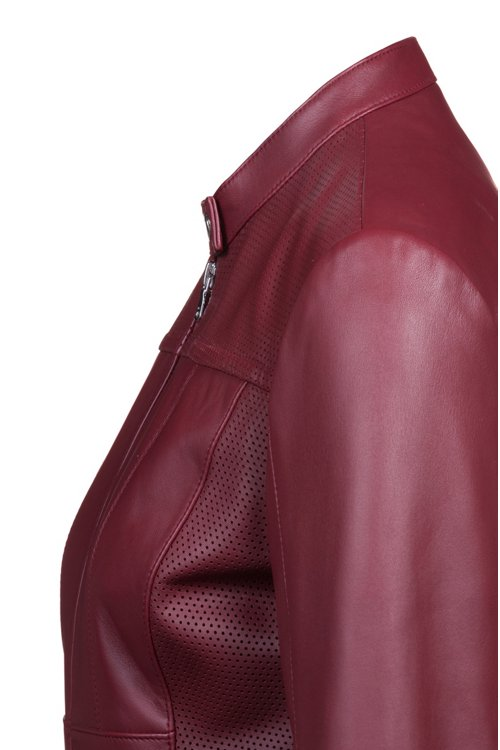 Hugo Boss - Lambskin biker jacket with perforated panels - 5