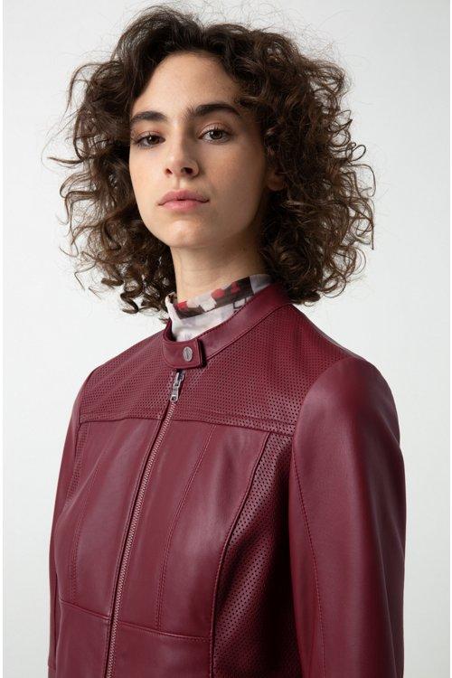 Hugo Boss - Lambskin biker jacket with perforated panels - 3