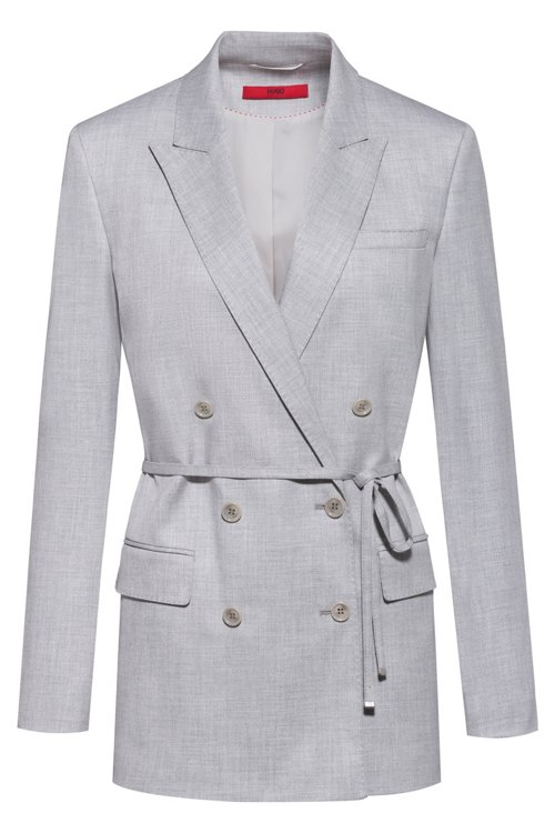 Hugo Boss - Double-breasted relaxed-fit jacket with tie belt - 1