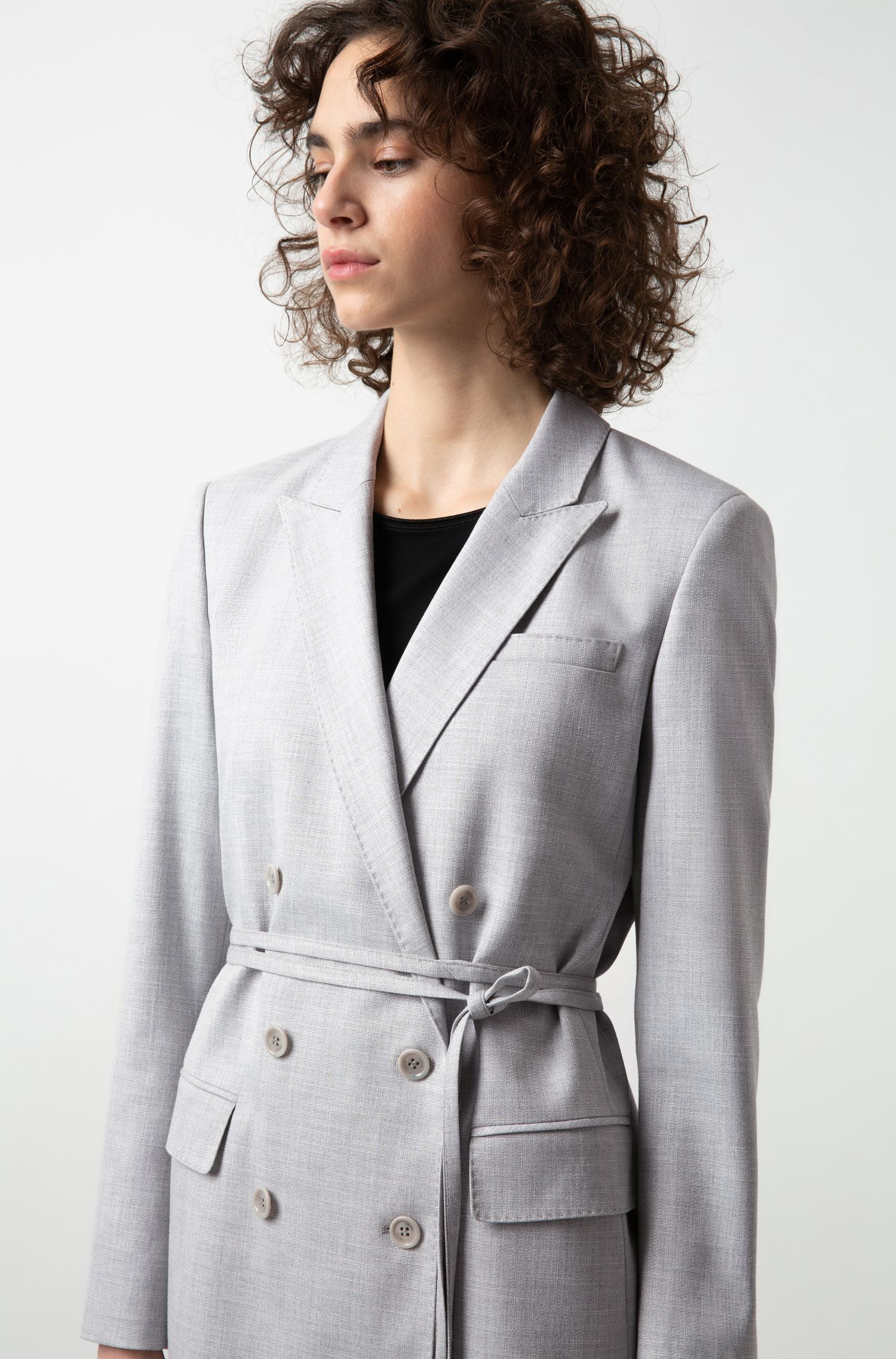 Double-breasted relaxed-fit jacket with tie belt, Grey