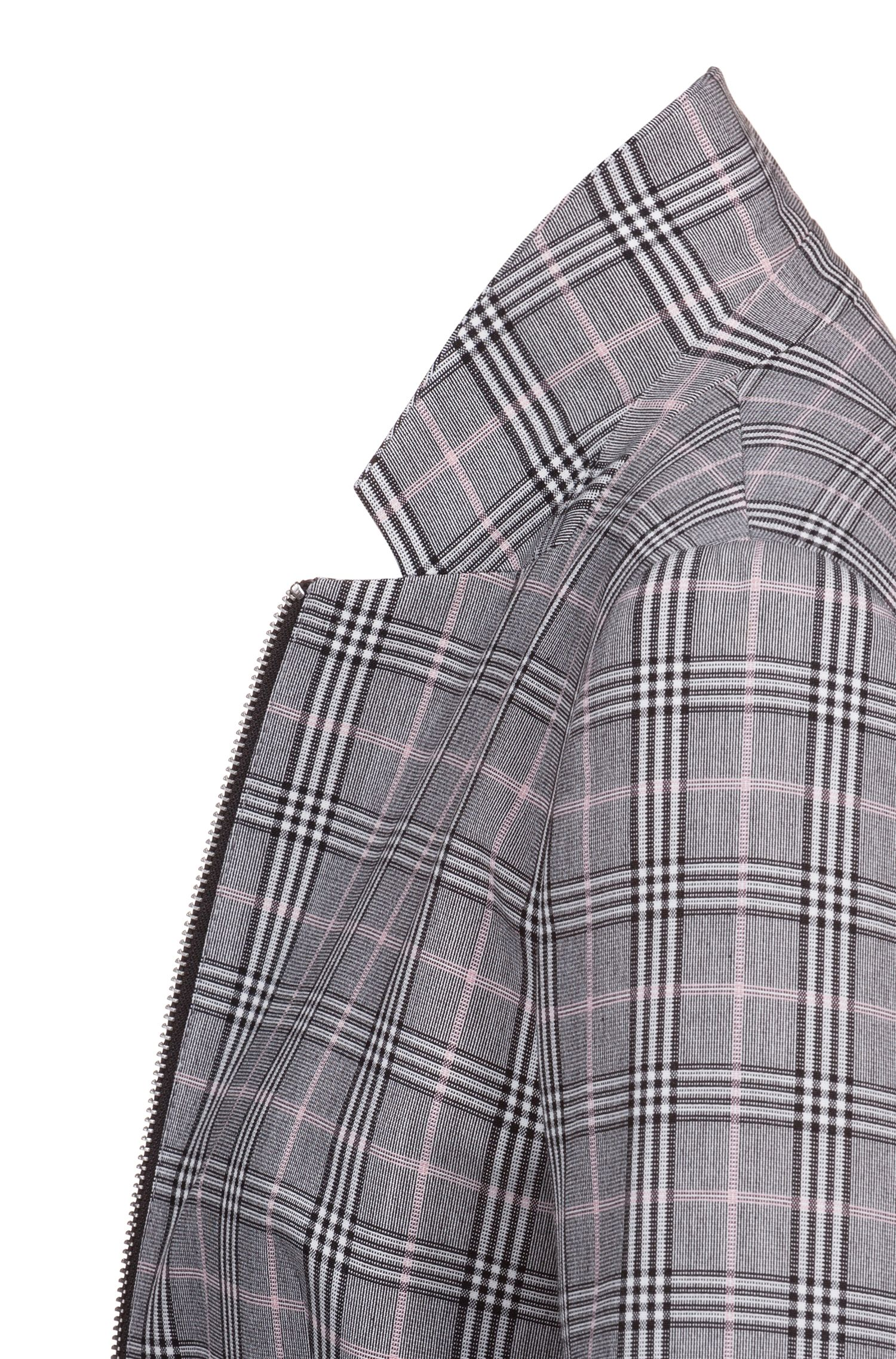 Hugo Boss - Regular-fit checked jacket with two-way front zip - 5
