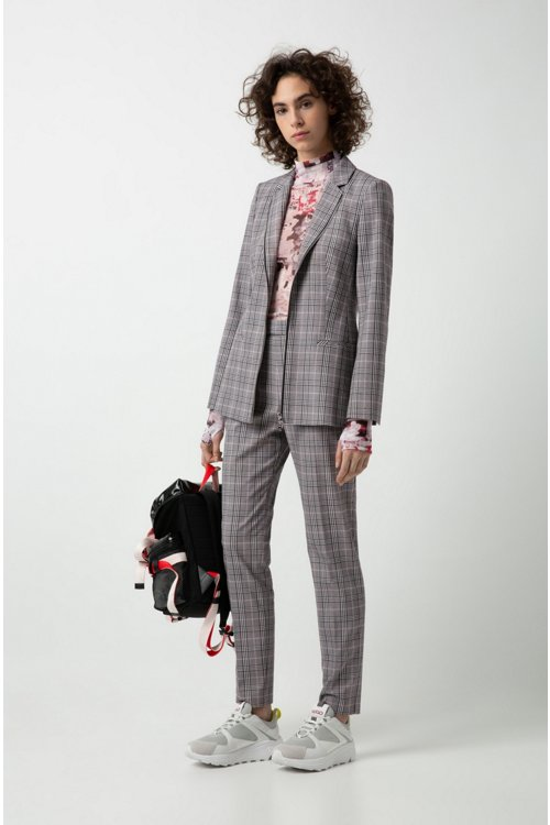 Hugo Boss - Regular-fit checked jacket with two-way front zip - 2