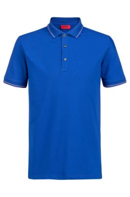 Polo slim fit con ribeteado a rayas, Azul