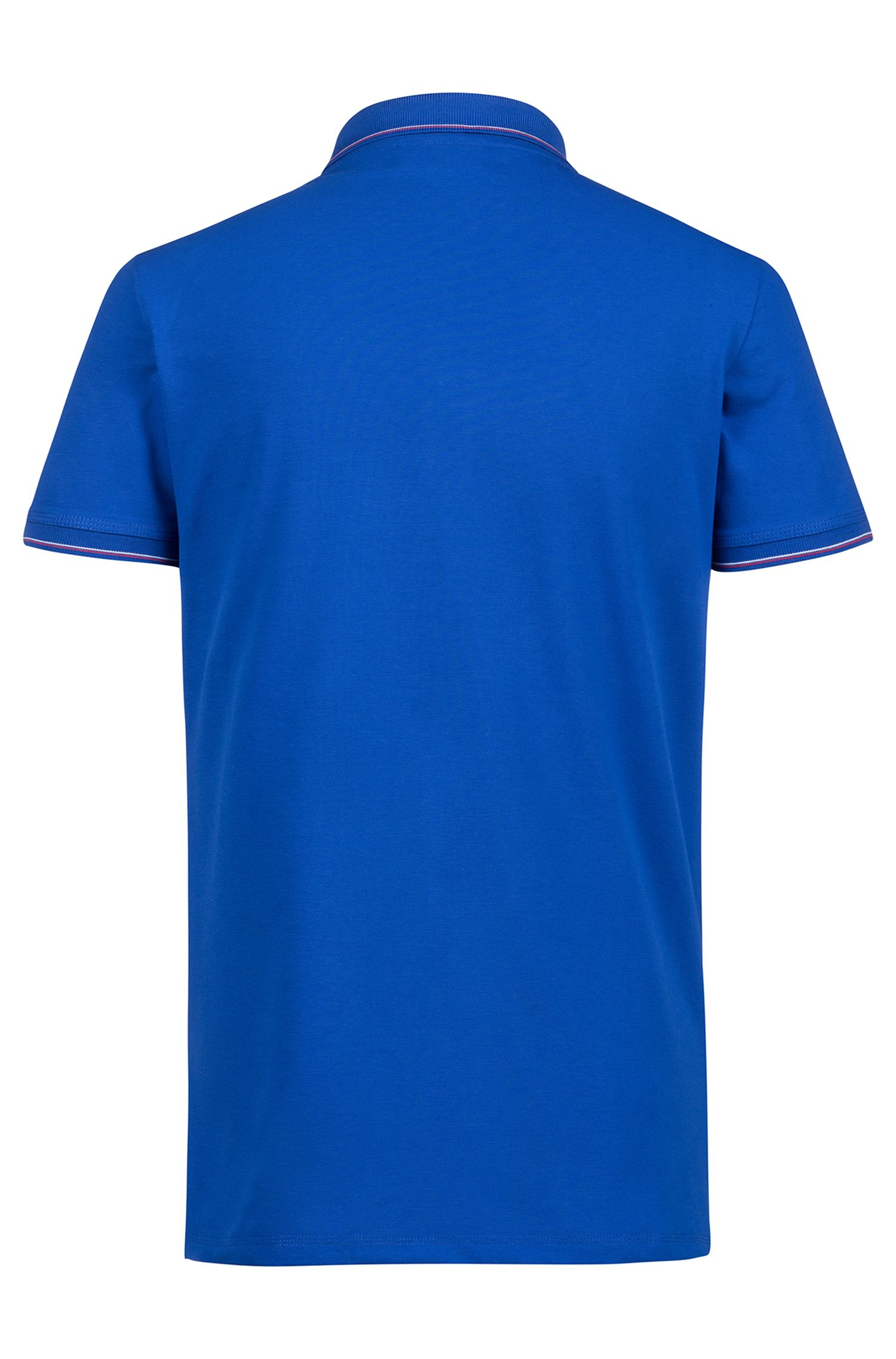 Polo slim fit con profili a righe, Blu