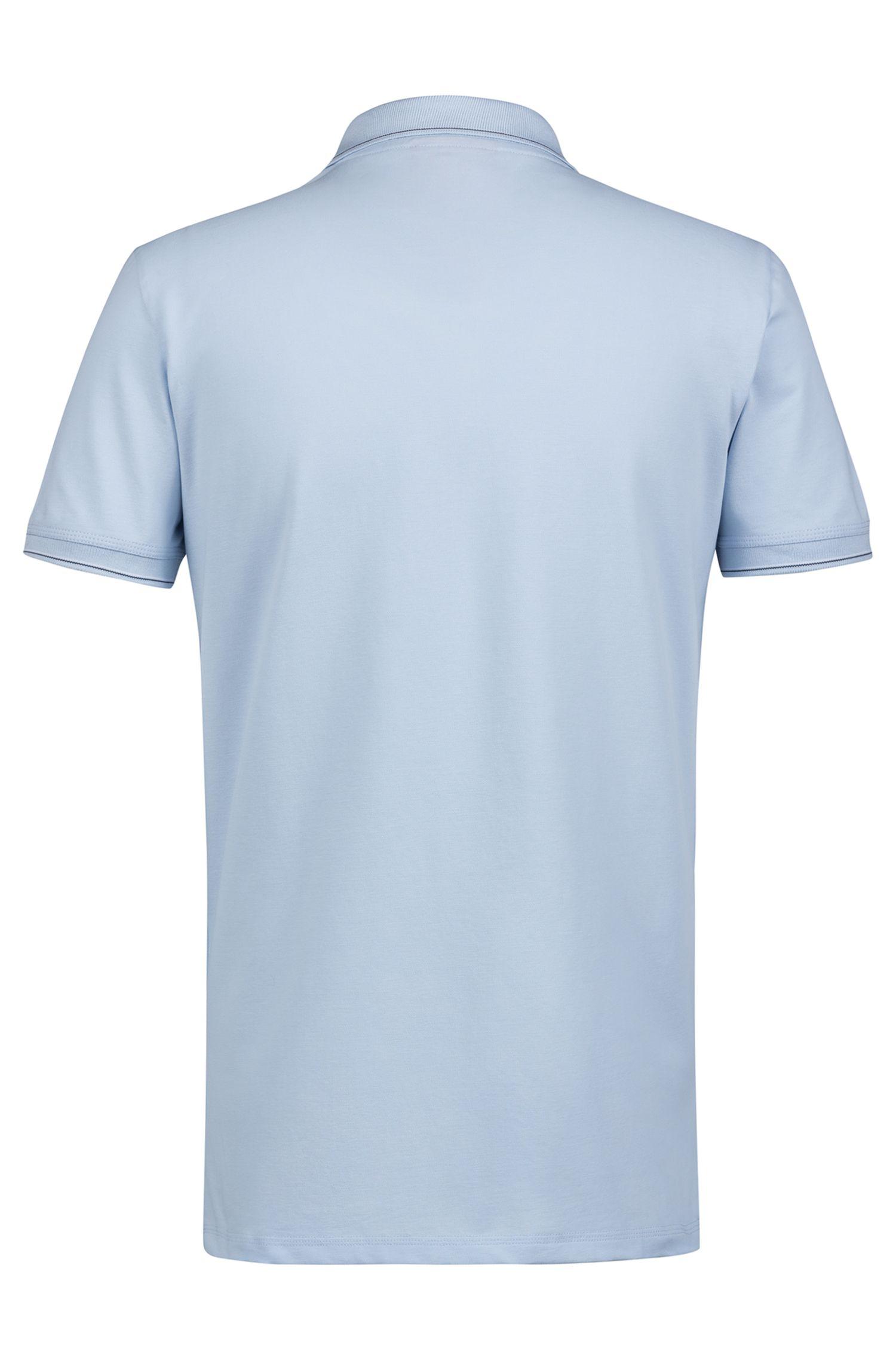 Slim-fit polo met gestreepte rand, Lichtblauw