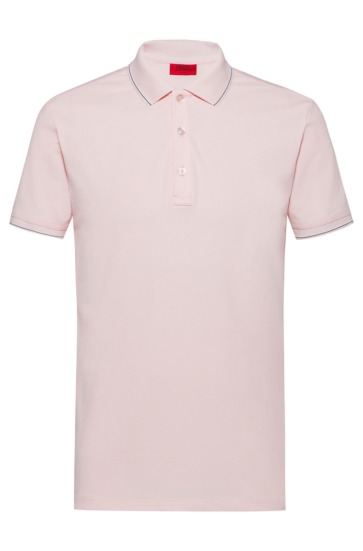 Polo slim fit con ribeteado a rayas, Rosa claro