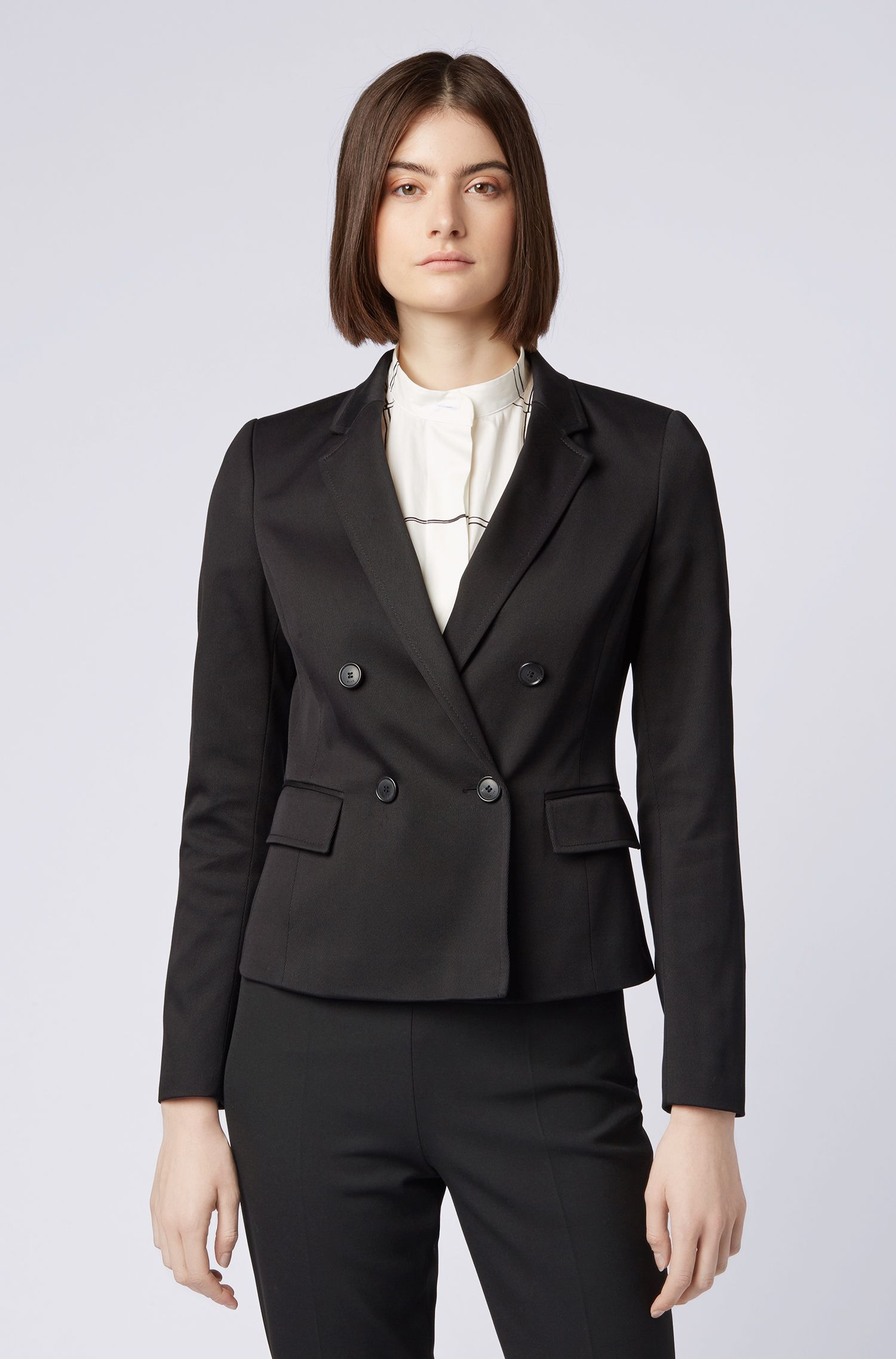 Double-breasted jacket in Italian cotton twill, Black