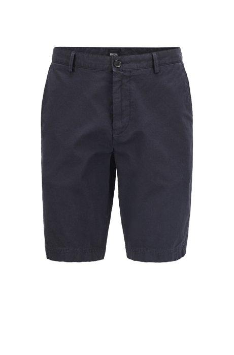 Regular-fit short met een fijne ribstructuur, Donkerblauw