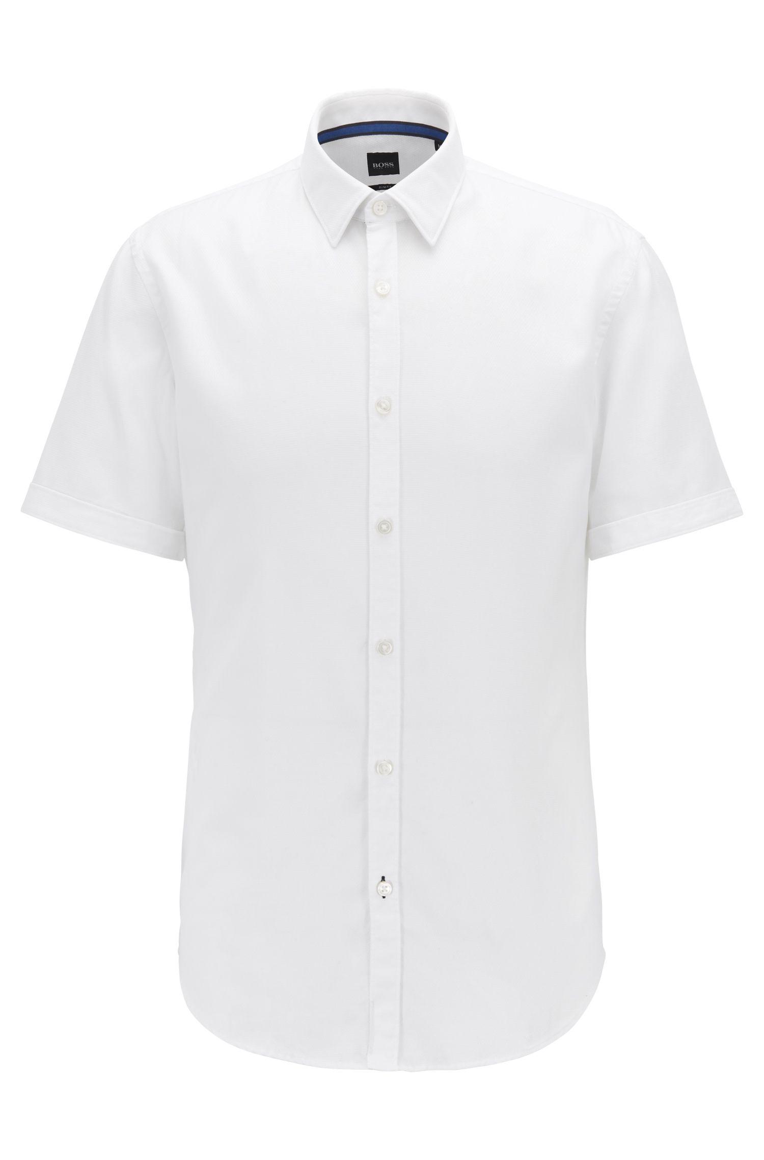 Camisa slim fit en algodón dobby con textura, Blanco