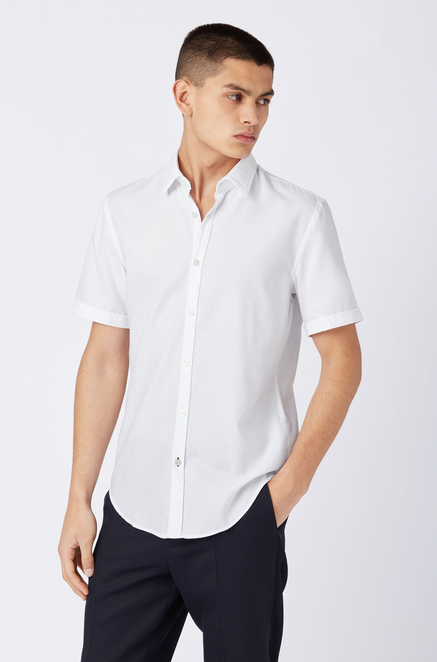 Slim-fit shirt in structured dobby cotton, White
