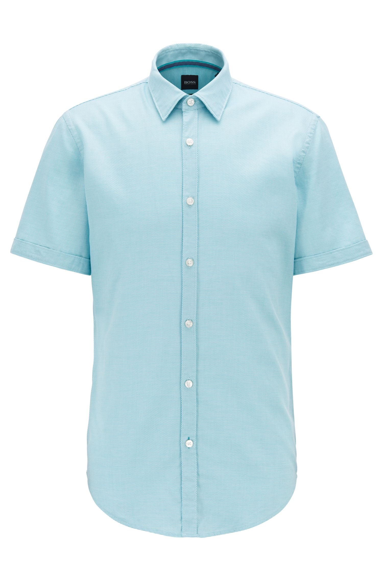 Slim-fit shirt in structured dobby cotton, Turquoise