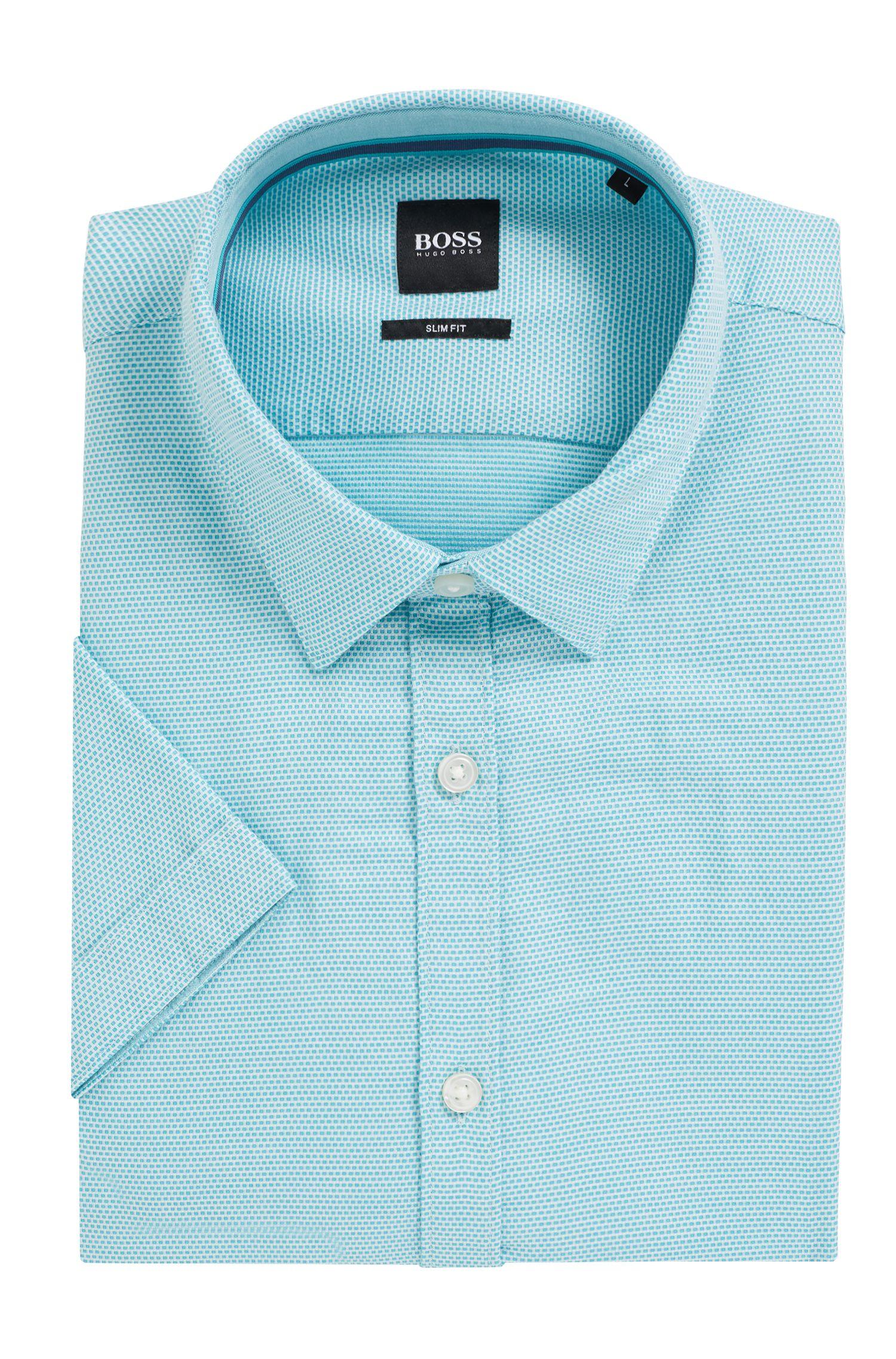 Slim-fit overhemd van gestructureerde dobbykatoen, Turkoois
