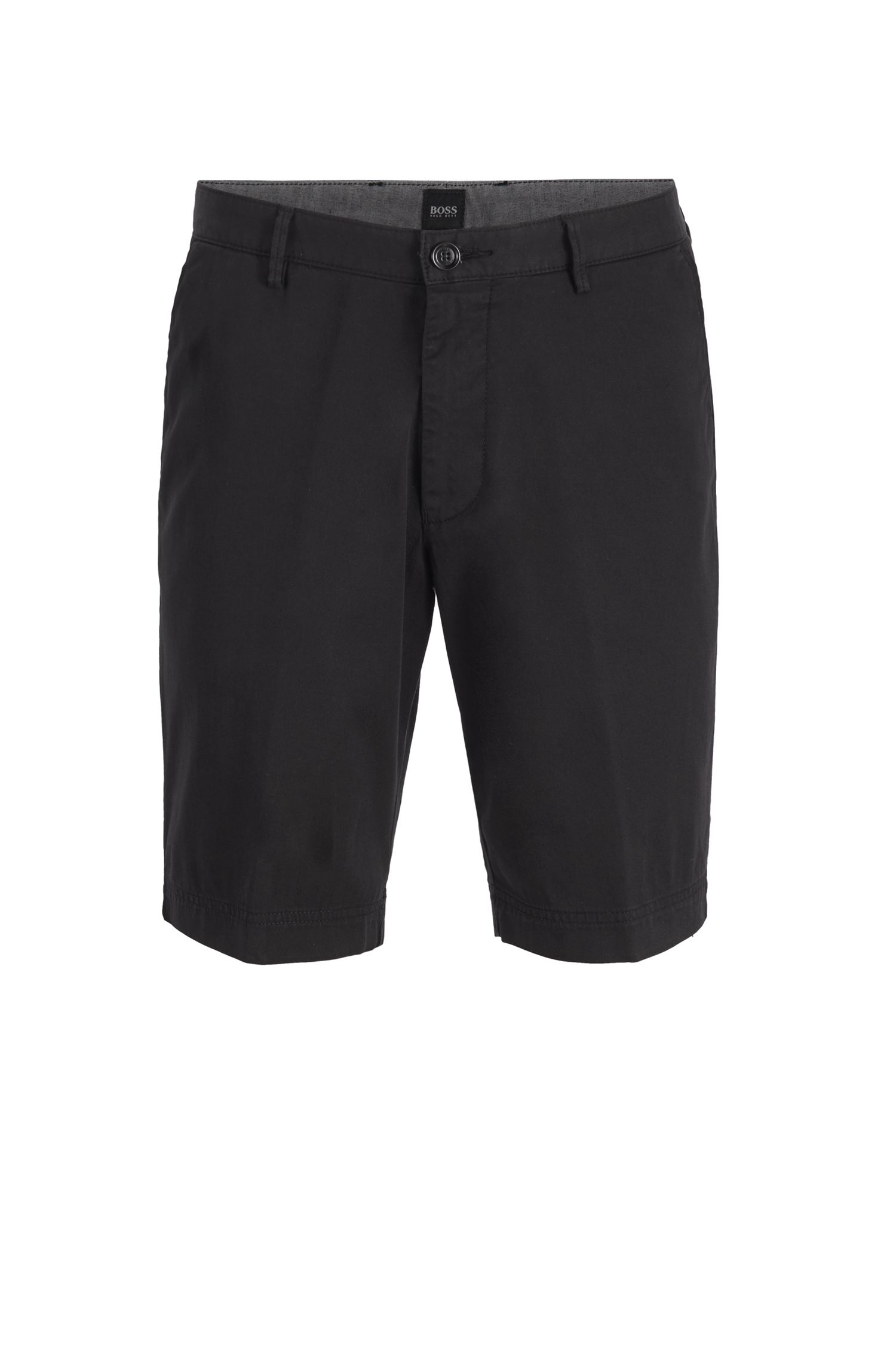 Slim-Fit Shorts aus Stretch-Baumwolle, Schwarz