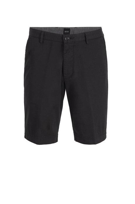 Short Slim Fit en twill de coton stretch, Noir