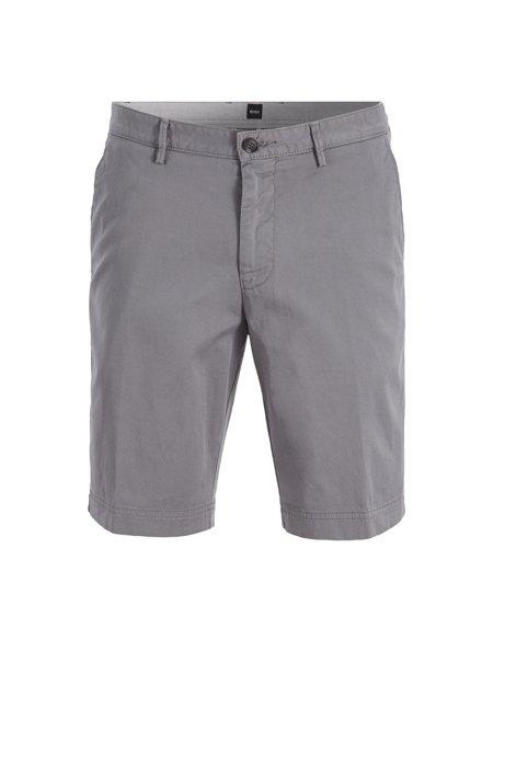 Pantaloncini slim fit in twill di cotone elasticizzato, Grigio chiaro
