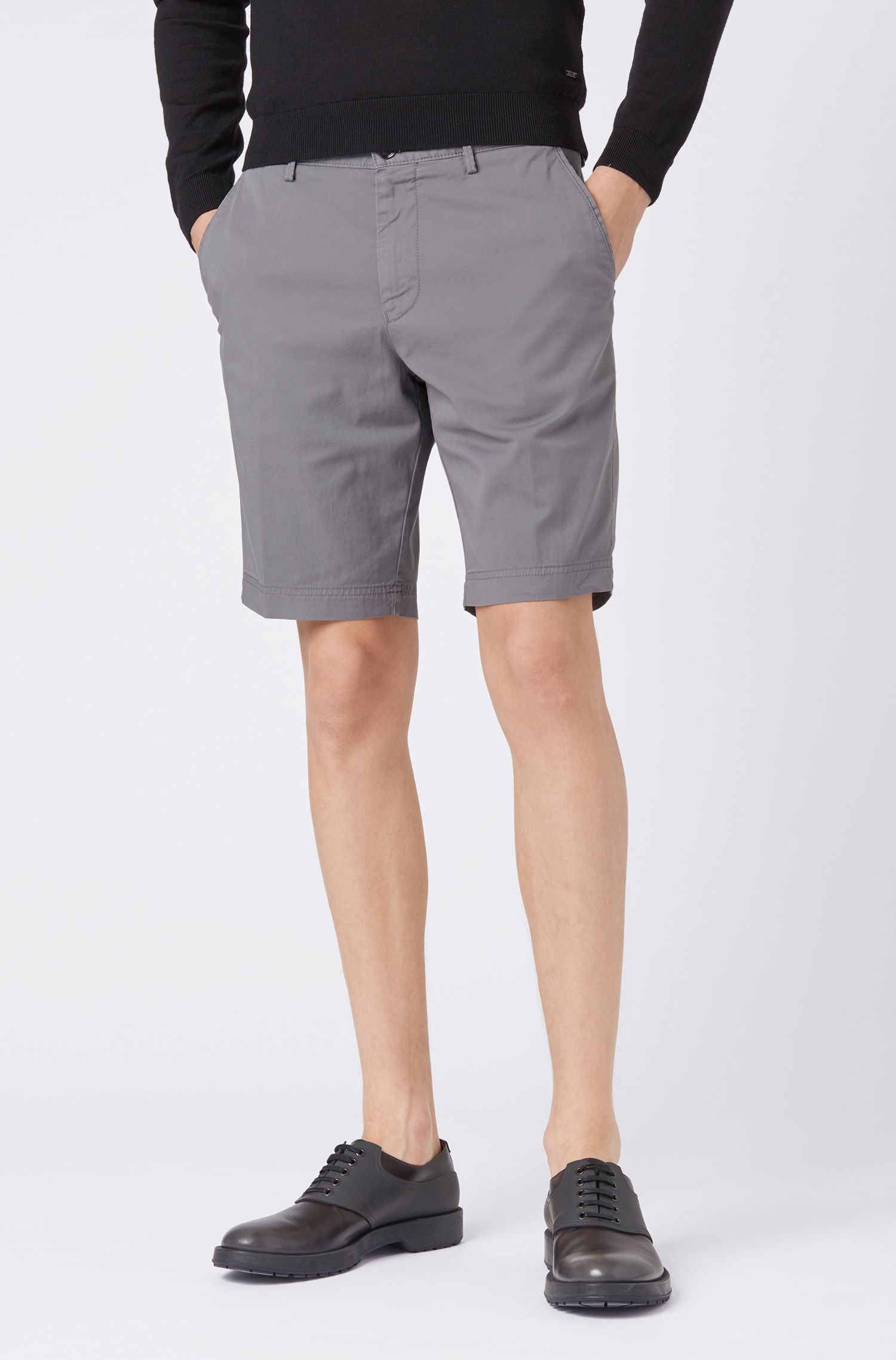 Slim-fit shorts in stretch-cotton twill, Open Grey