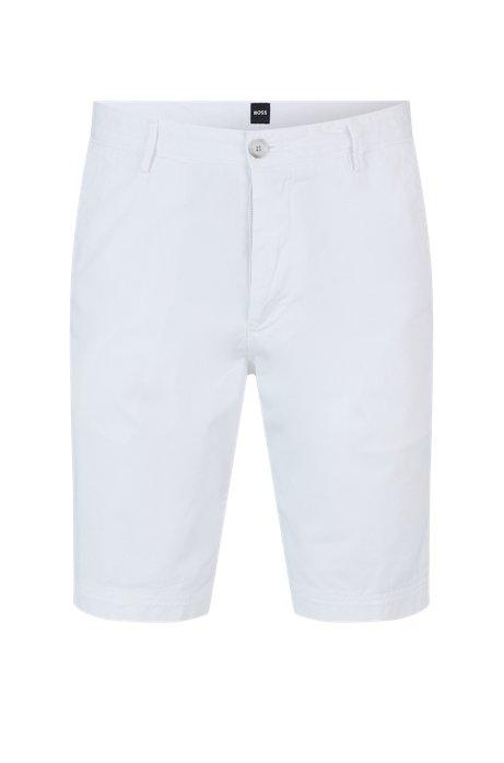 Slim-fit short van katoentwill met stretch, Wit