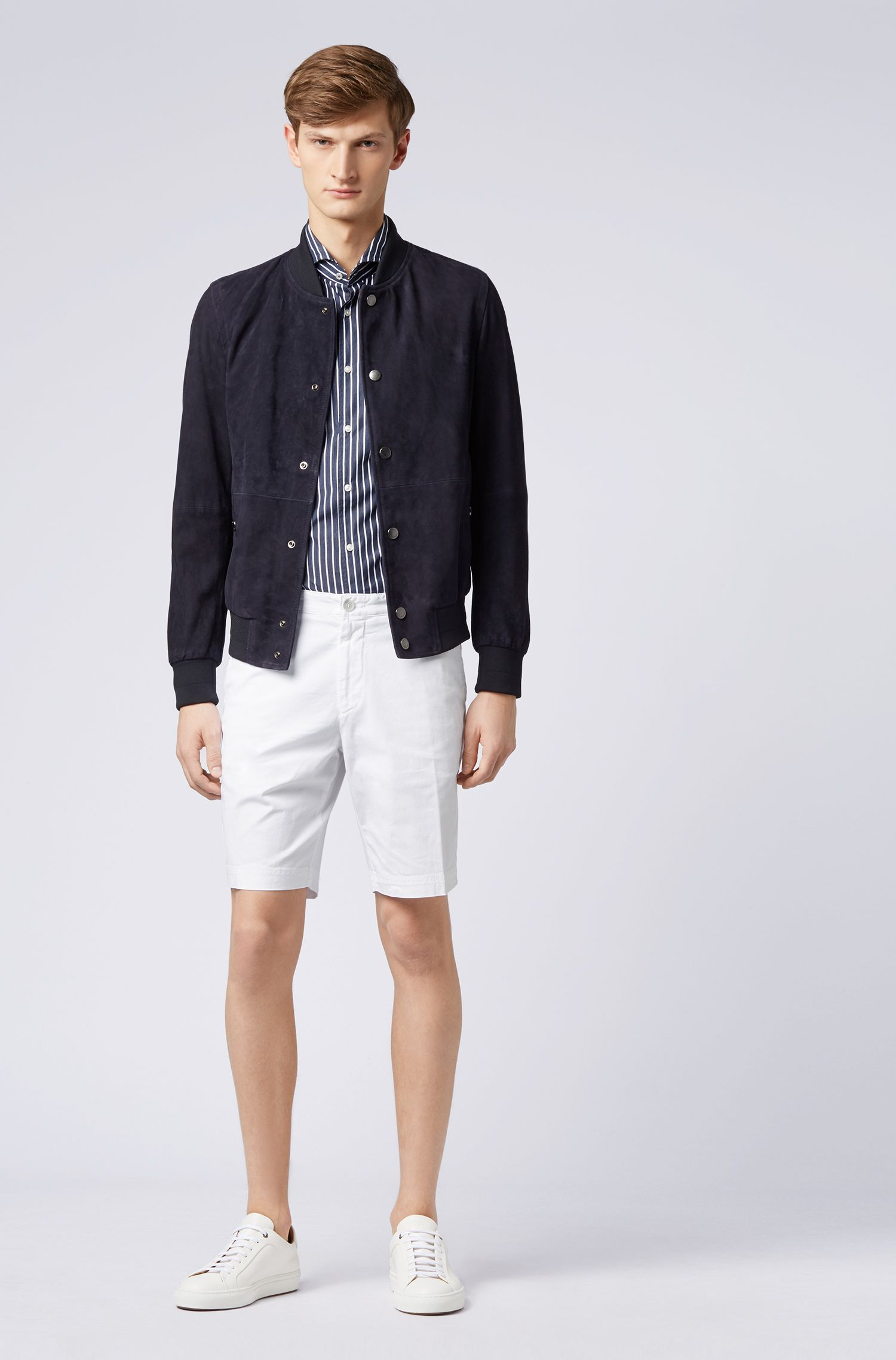 Slim-fit shorts in stretch-cotton twill, White