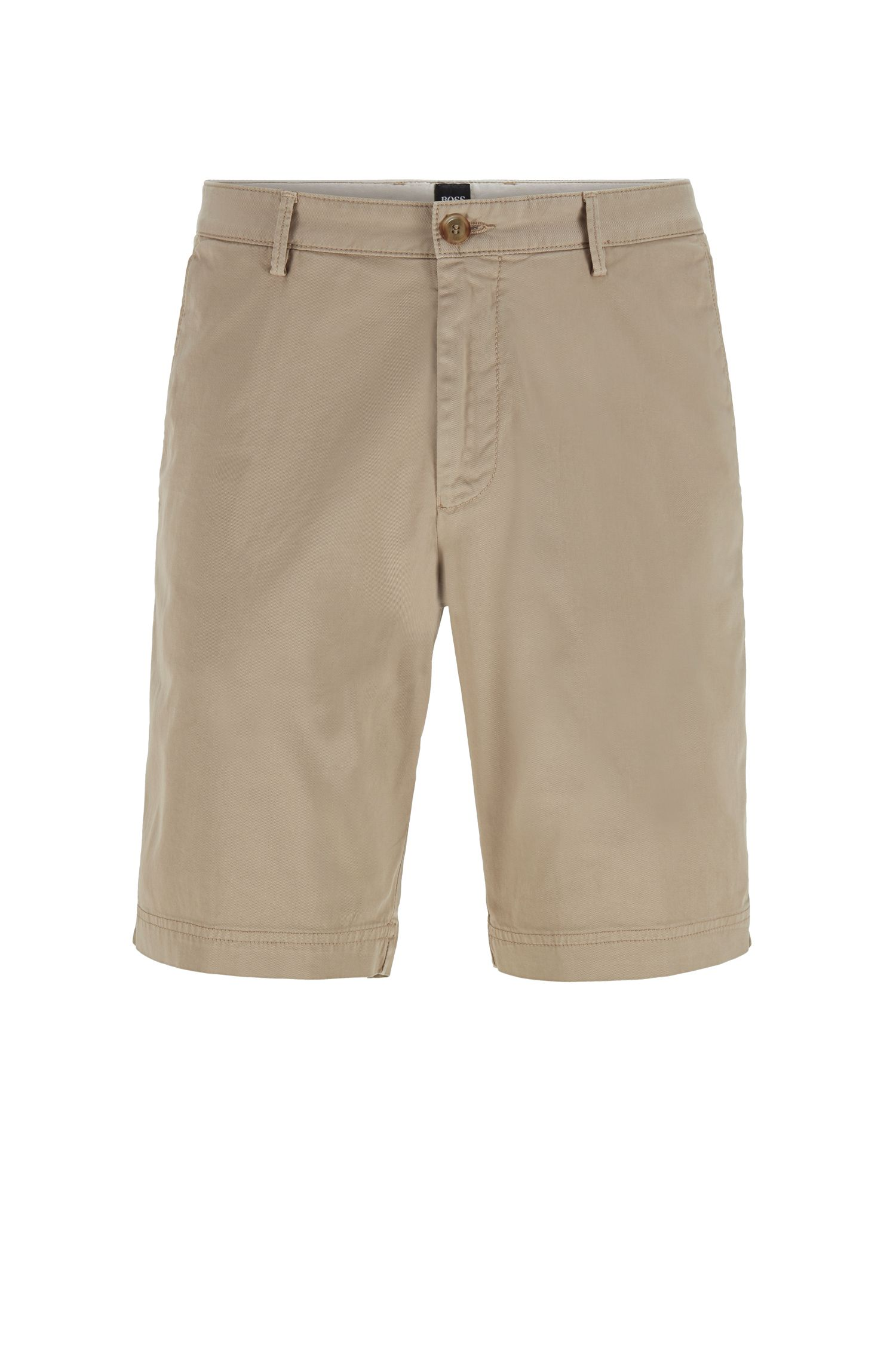Short Slim Fit en twill de coton stretch, Beige