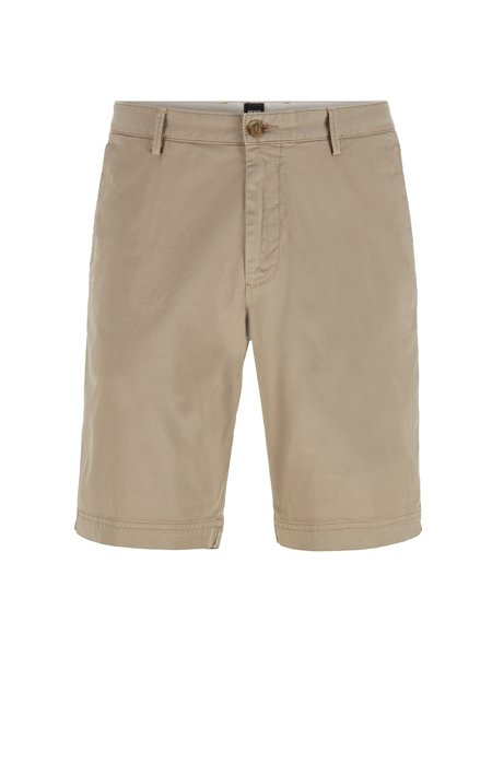 Slim-fit shorts in stretch-cotton twill, Beige