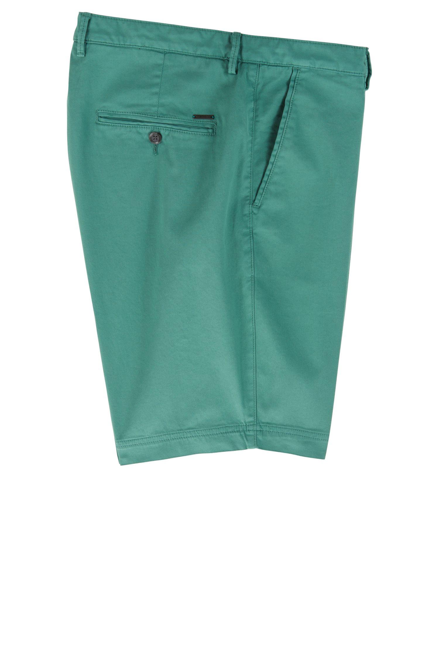 Shorts slim fit en sarga de algodón elástico, Cal