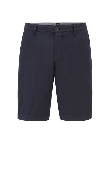 Slim-fit shorts in stretch-cotton twill, Dark Blue
