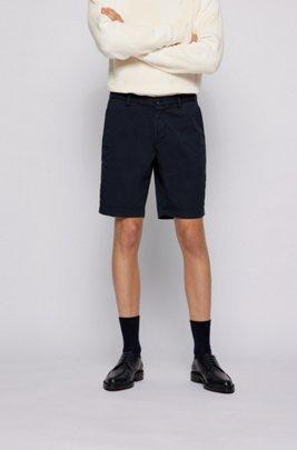 Slim-fit shorts in stretch-cotton twill, Dark Blue
