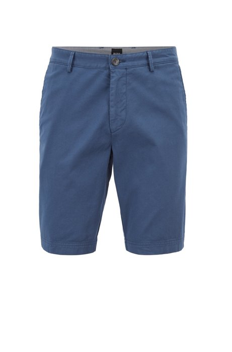Slim-fit shorts in stretch-cotton twill, Open Blue