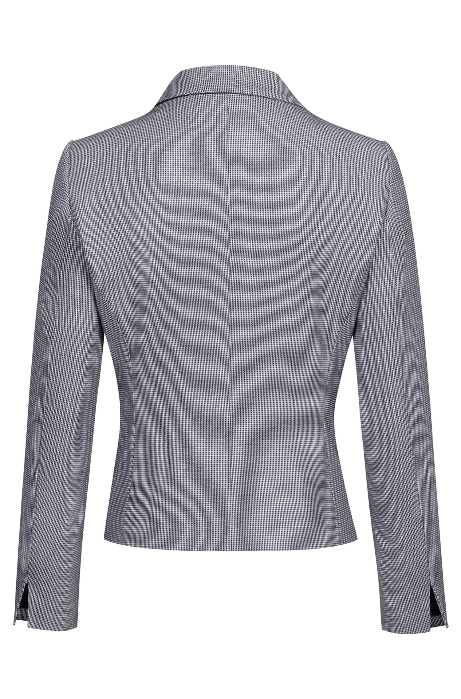 One-button jacket in patterned stretch fabric, Patterned