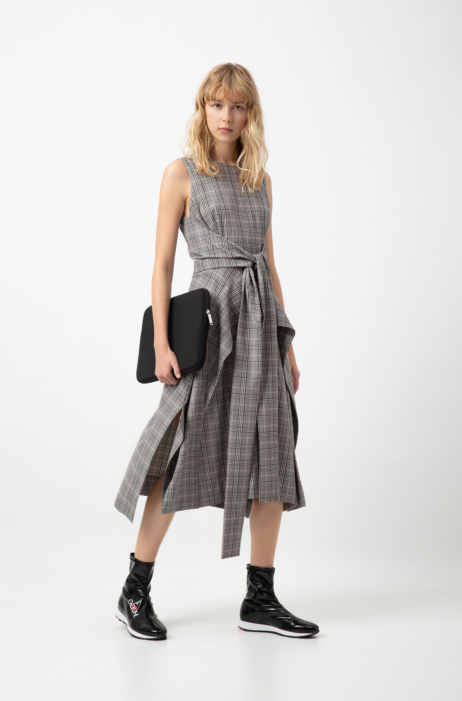Hugo Boss - Checked midi dress with waterfall skirt and bow detail - 2