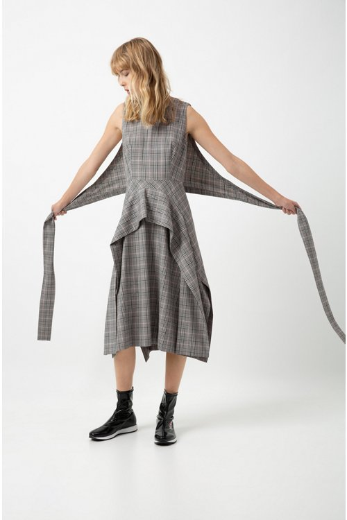 Hugo Boss - Checked midi dress with waterfall skirt and bow detail - 3