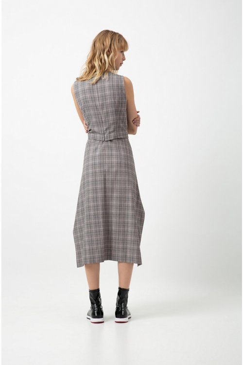 Hugo Boss - Checked midi dress with waterfall skirt and bow detail - 5