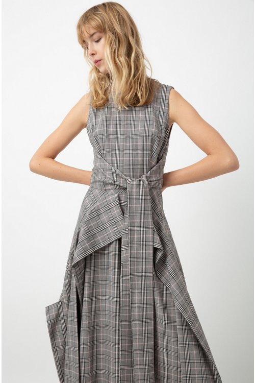 Hugo Boss - Checked midi dress with waterfall skirt and bow detail - 4