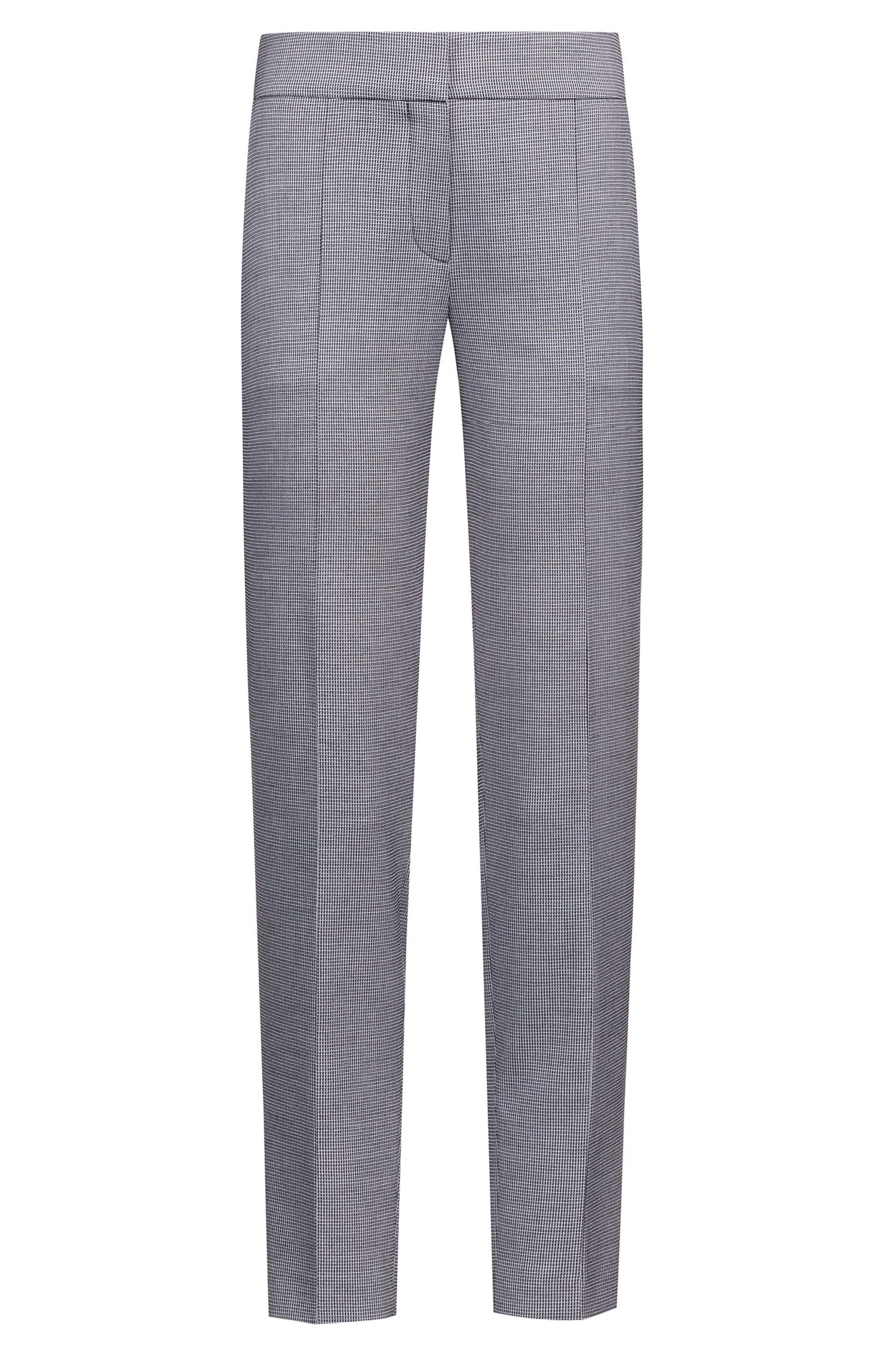 Slim-fit cropped trousers in patterned stretch fabric, Grey
