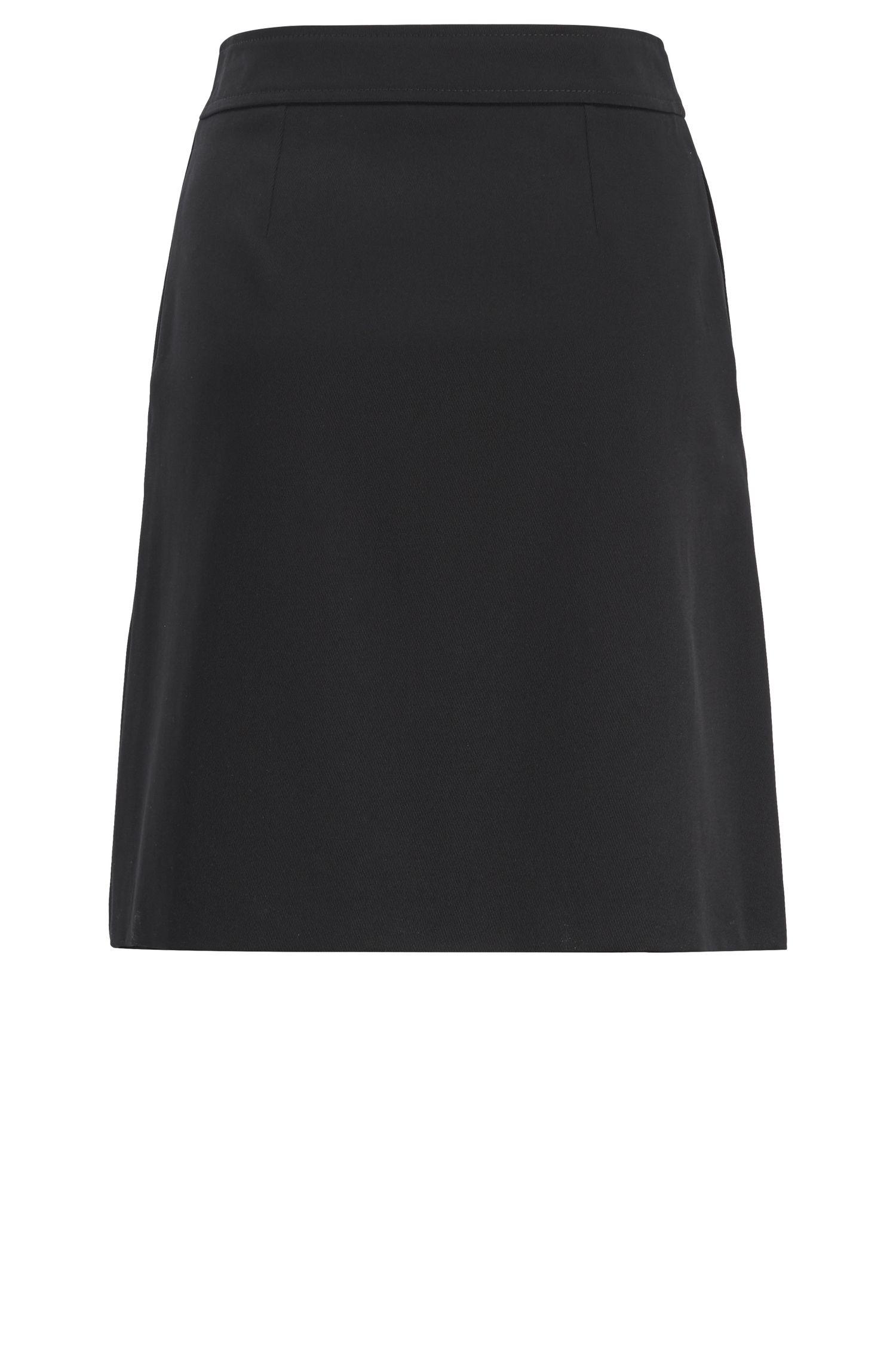 A-Linien-Rock aus Baumwolle im Trenchcoat-Stil, Schwarz