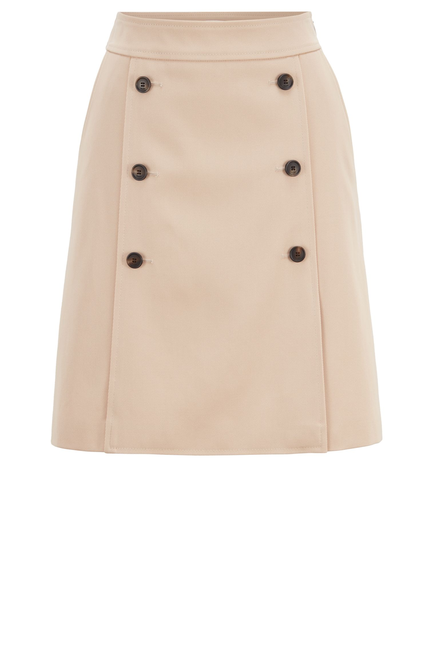 Trench coat-inspired A-line skirt with buttons, Open Beige