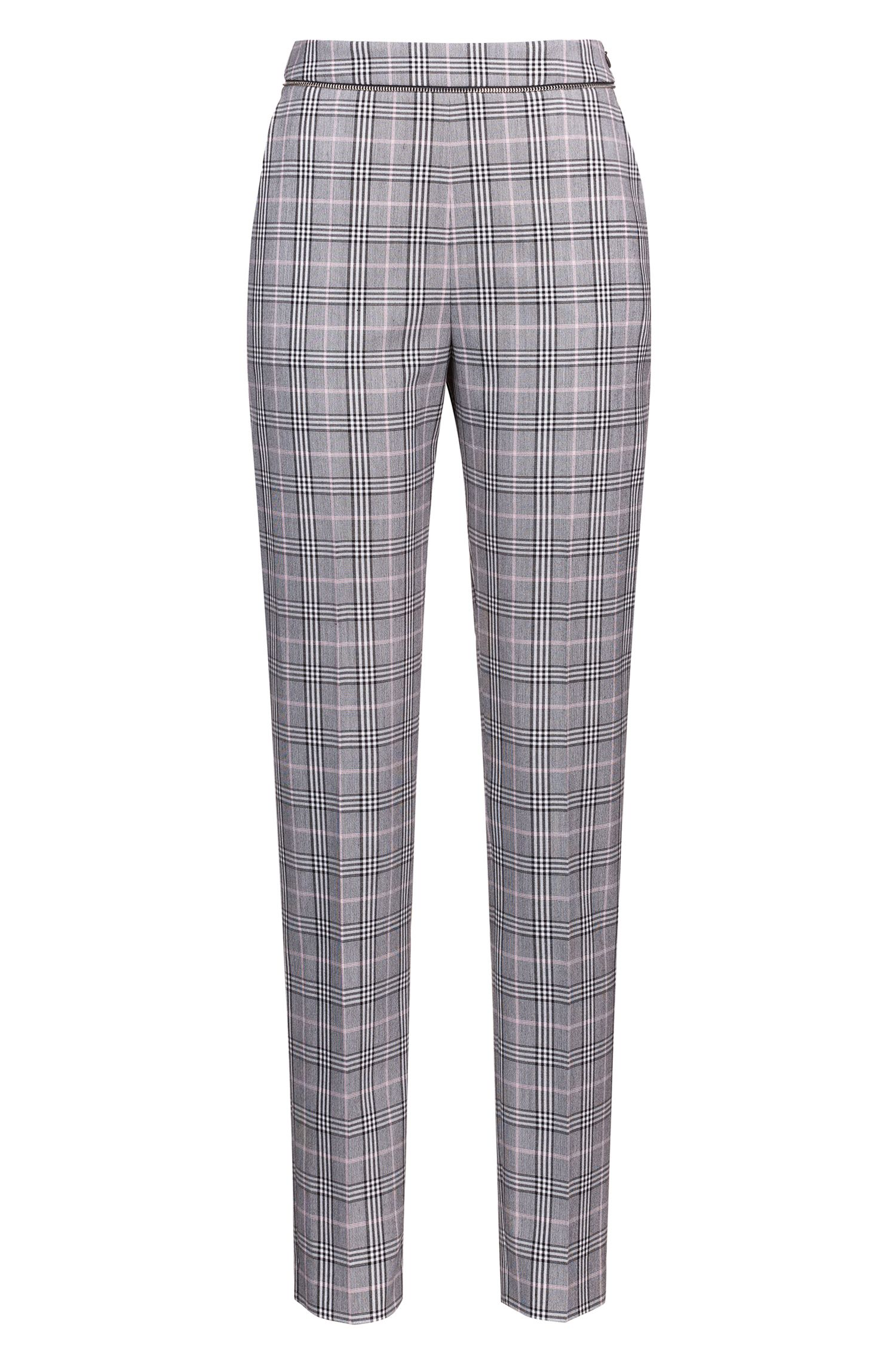 Checked cigarette trousers with zip-detail waistband, Patterned