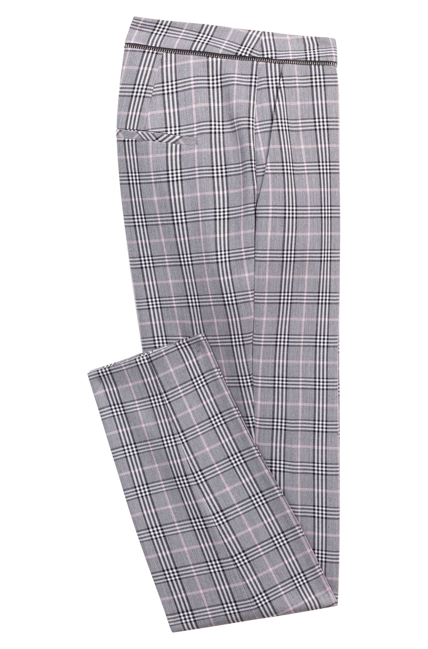 Pantalones de pitillo a cuadros con detalle de cremallera en la cintura, Fantasía