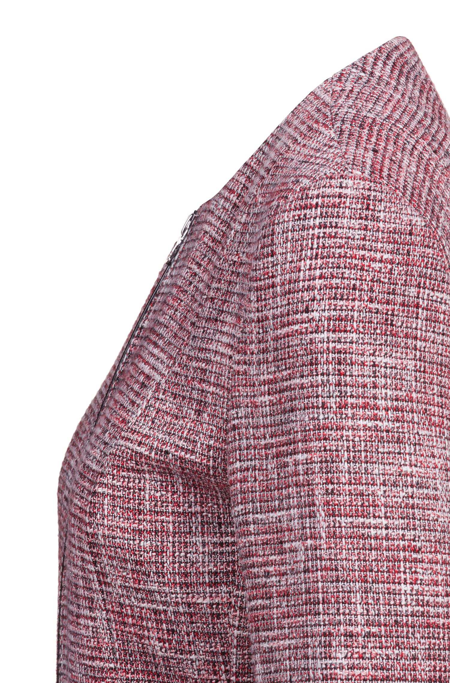 Cropped regular-fit tweed jacket with zip detailing, Patterned