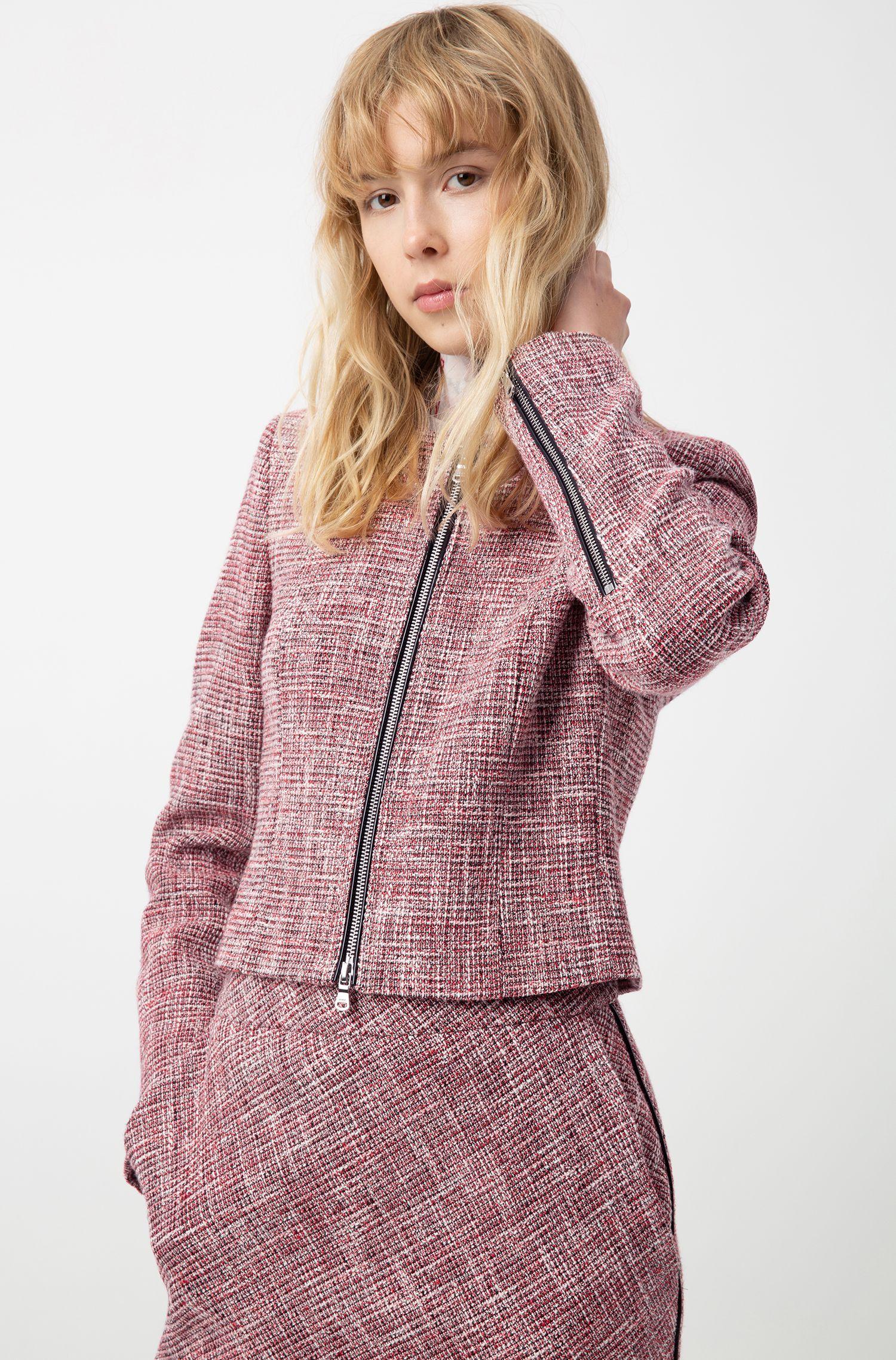 Cropped regular-fit tweed jasje met ritsdetails, Bedrukt