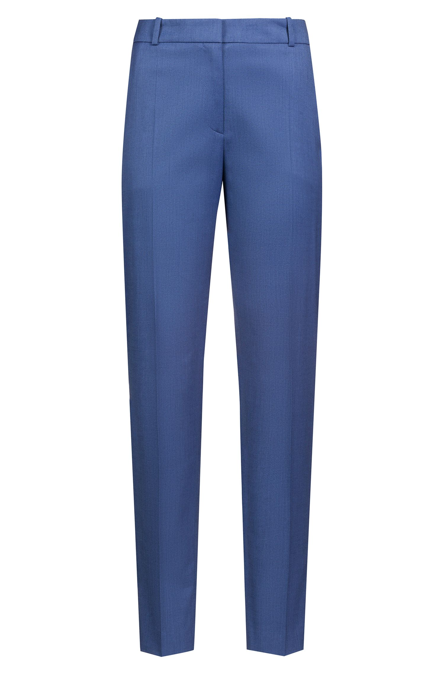 Cropped cigarette trousers in patterned stretch fabric, Patterned