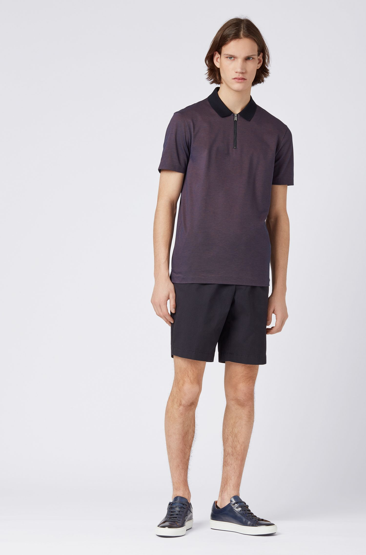 Slim-fit shorts in stretch cotton with front pleats, Dark Blue