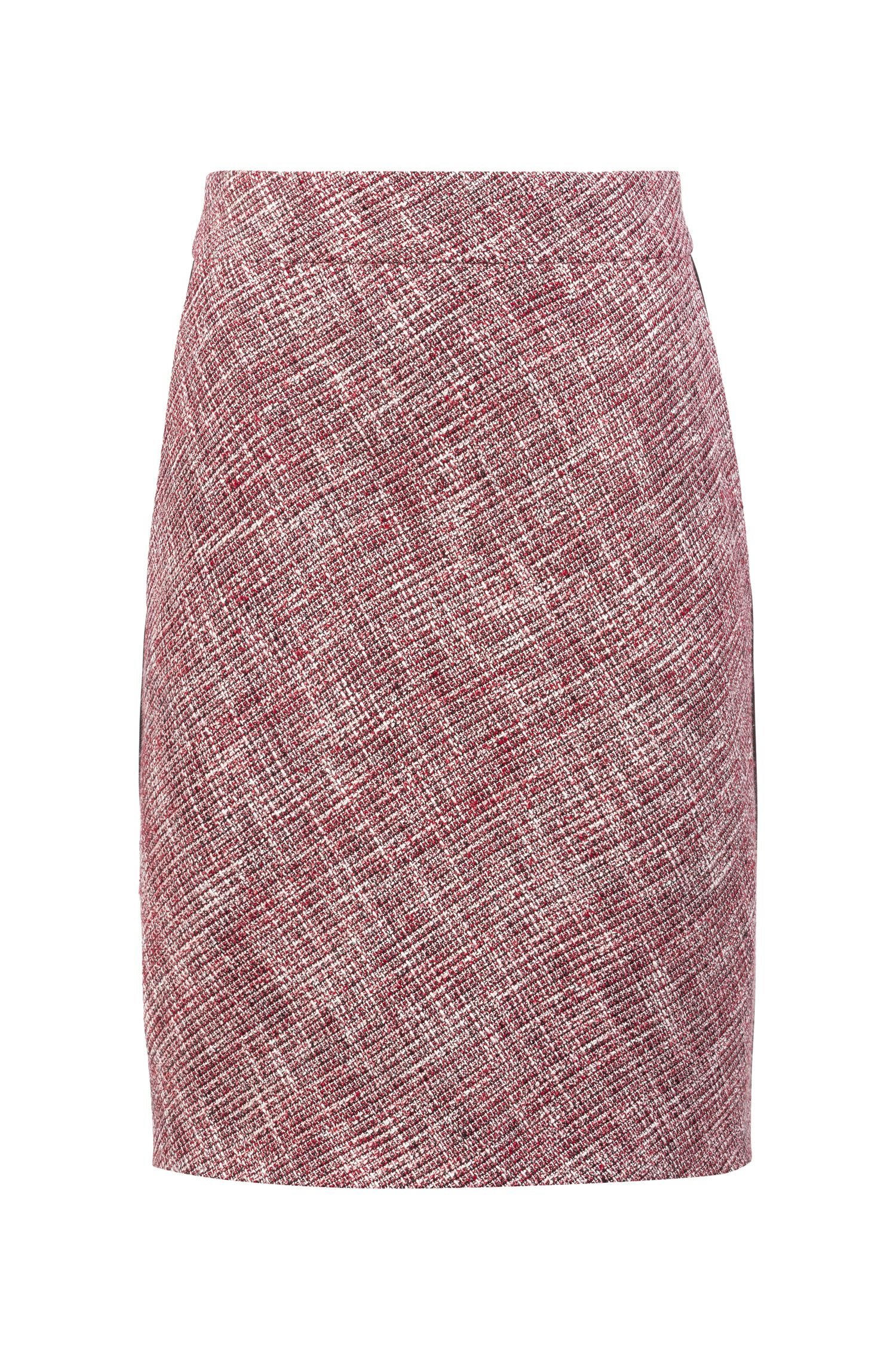 Tweed pencil skirt with faux-leather piping detail, Patterned
