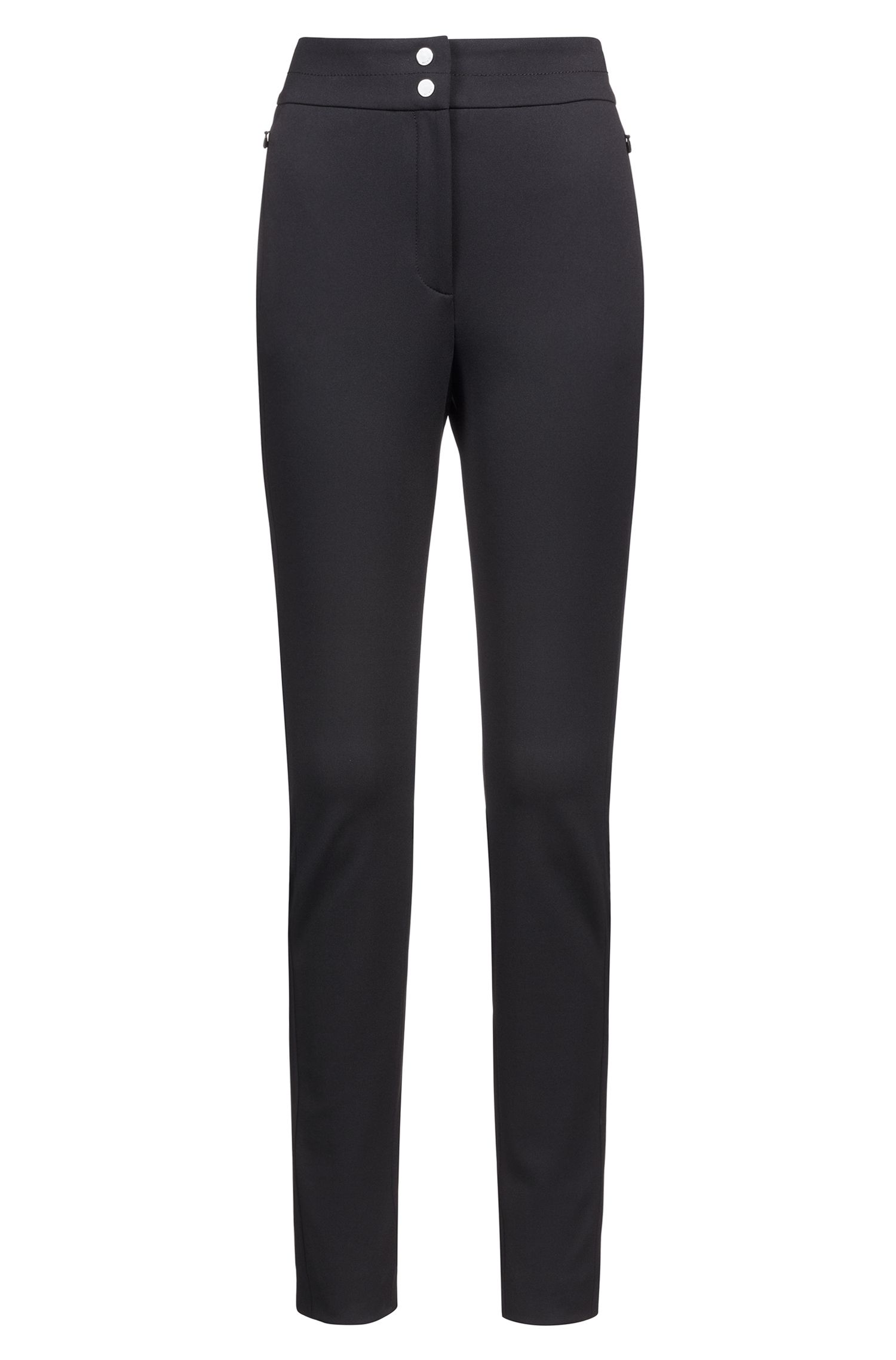 High-waisted slim-fit trousers with rear-cuff zips, Black