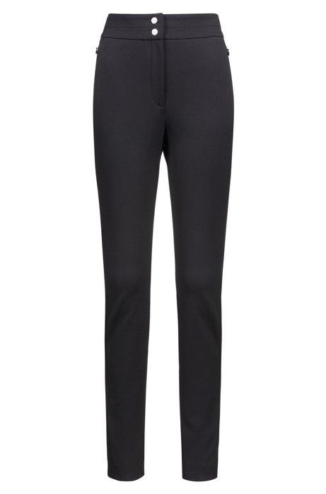 Slim-fit broek met hoge taille en ritsjes achter op de pijp, Zwart