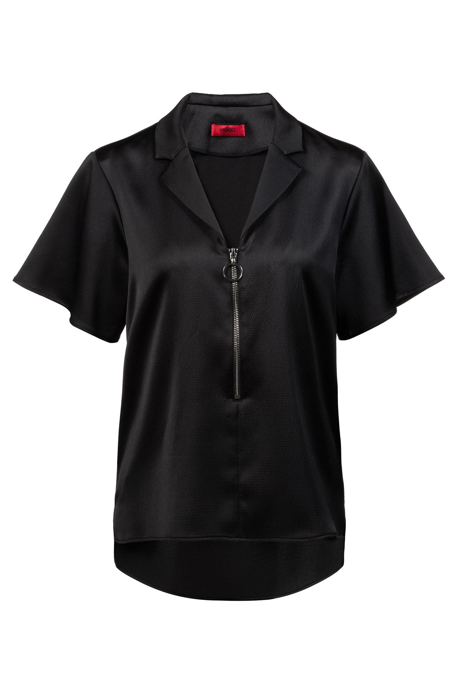 Relaxed-fit top van satijnen inslagcrêpe met opvallende ritssluiting, Zwart